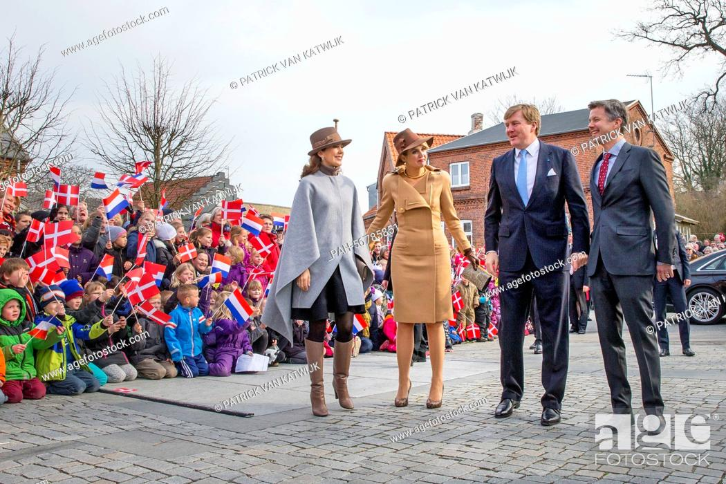 Stock Photo: King Willem-Alexander and Queen Maxima of The Netherlands and Crown Prince Frederik and Crown Princess Mary of Denmark visit Samso Island, Denmark.