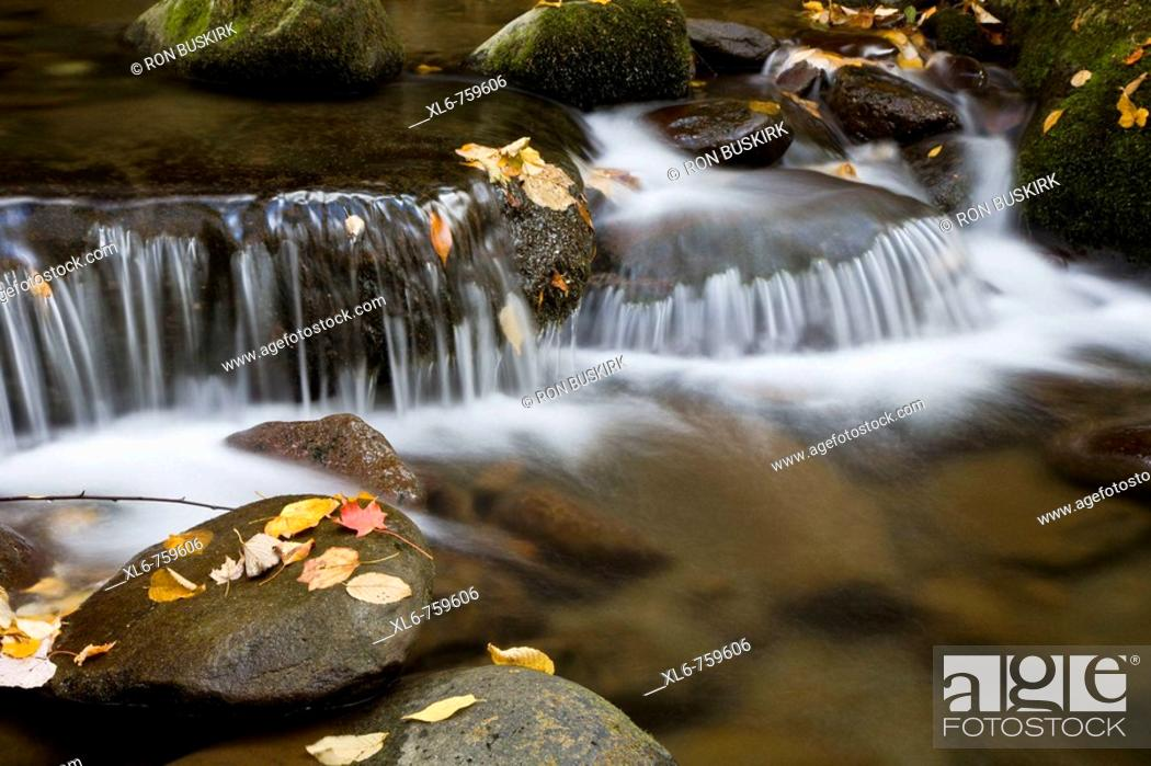 Stock Photo: Water flowing over rocks in a mountain stream during autumn.
