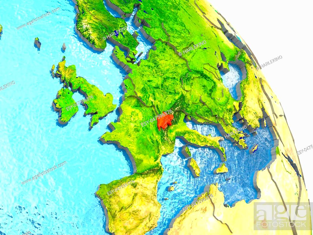 Stock Photo: Switzerland in red with surrounding region. 3D illustration with highly detailed realistic planet surface. Elements of this image furnished by NASA.