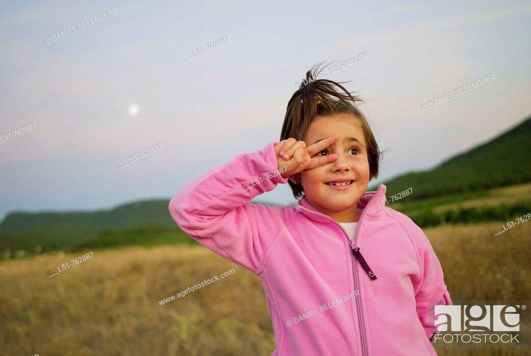 Stock Photo: Child joking at sunset, Talayuelas, Cuenca, Castilla la Mancha, Spain, Europe.