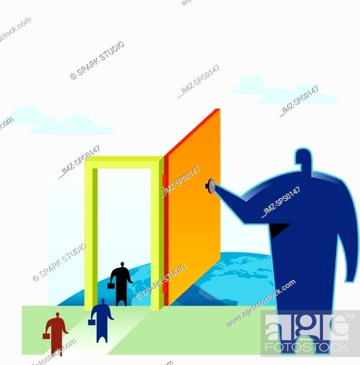 Stock Photo: Businessmen walking through the door of opportunity being held open by another huge man.