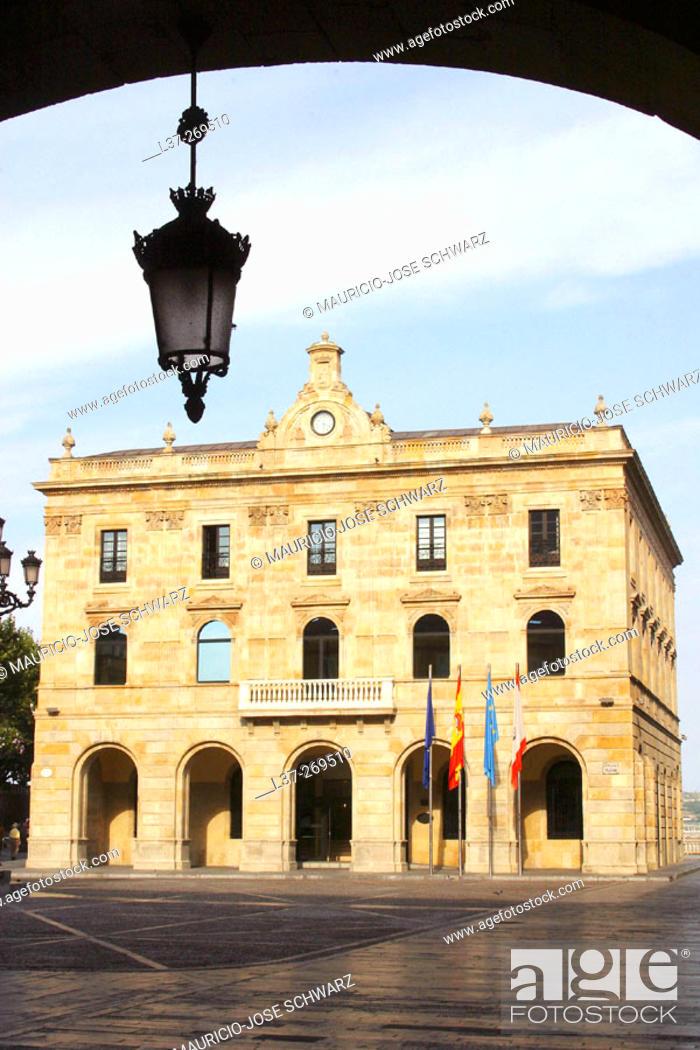 Stock Photo: City Hall in Gijón, Asturias, Spain.