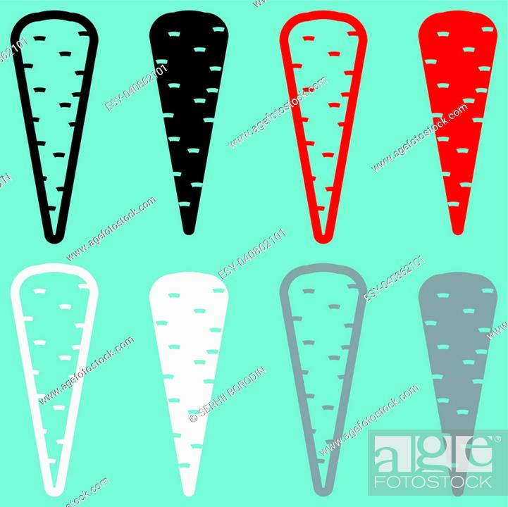 Stock Vector: Carrot black red white grey icon set.