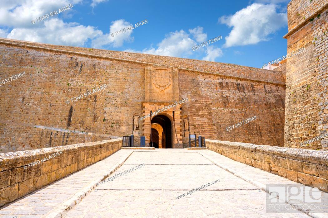 Stock Photo: Ibiza main door Dalt Vila entrance Portal de Ses Taules fortress.