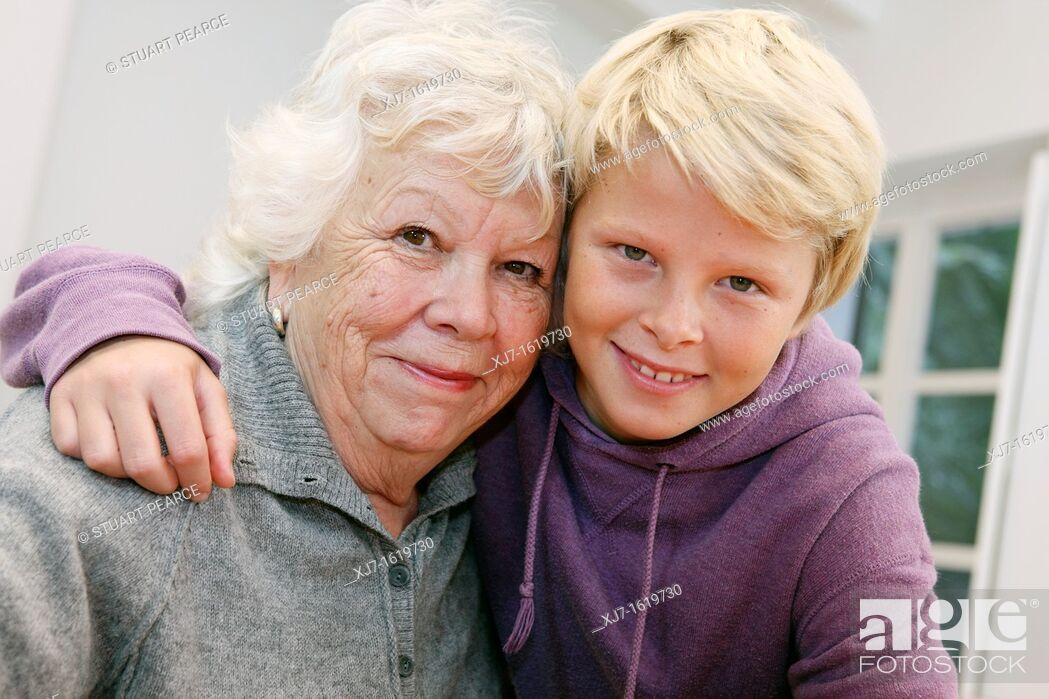 Stock Photo: Senior woman with grandson.
