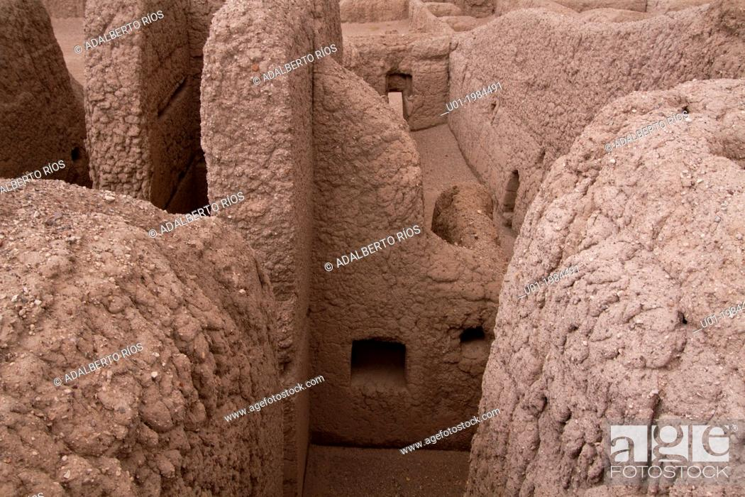 Stock Photo: The Paquime archaeological site is located in Casas Grandes, Chihuahua. Is a complex of adobe buildings that included 4-story homes.