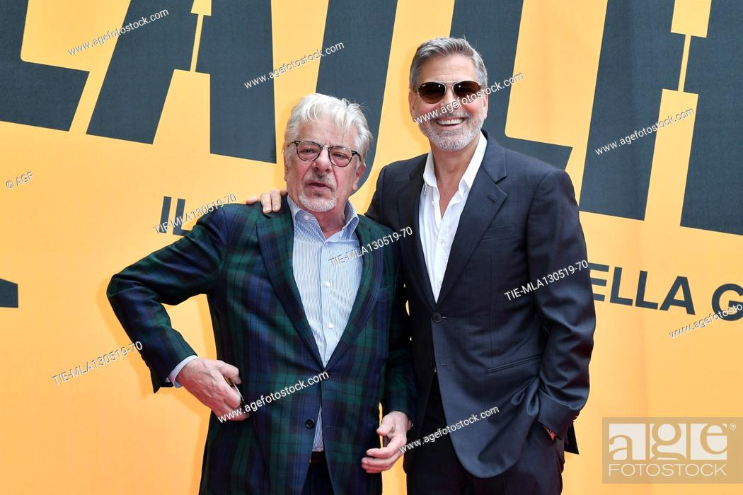 Stock Photo: Giancarlo Giannini, George Clooney during 'Catch-22' TV show photocall, Rome, Italy - 13 May 2019.
