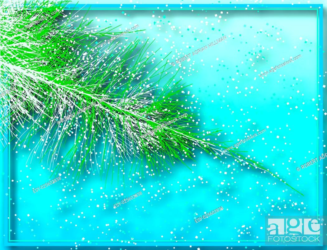 Stock Vector: Editable vector illustration of a sparkling Christmas tree branch with background shadow made using a gradient mesh.