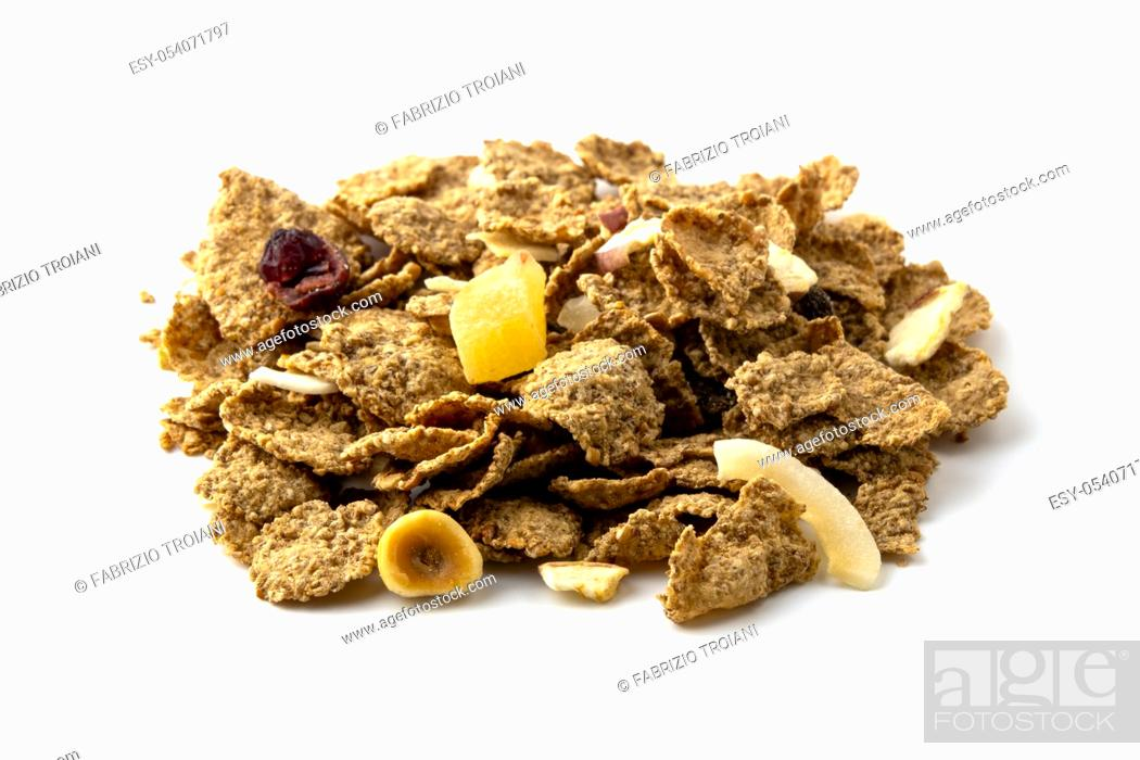Stock Photo: Breakfast cereal on a white background.