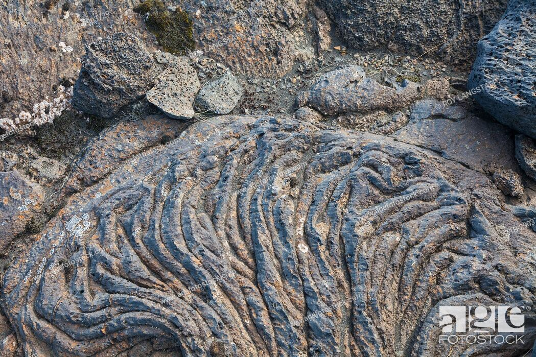 Stock Photo: Solidified lave flow on the coastal plain of southern Iceland.