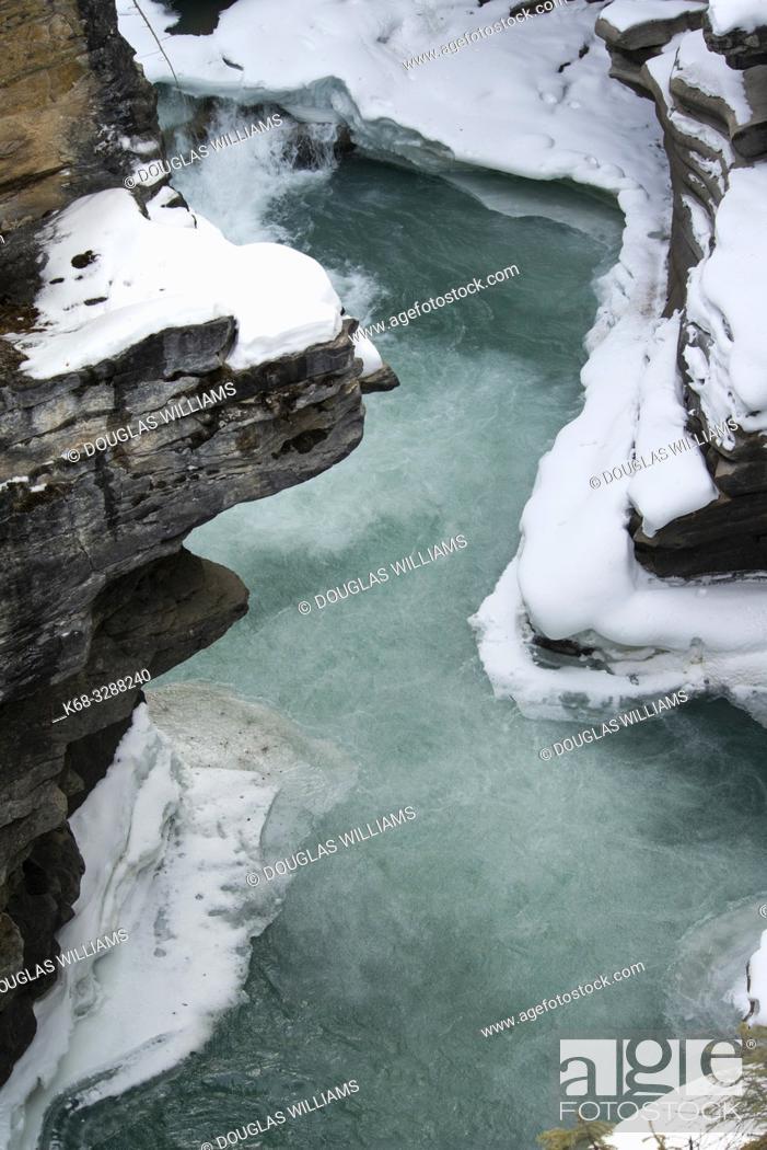 Stock Photo: canyon in winter in Jasper National Park, Alberta, Canada.