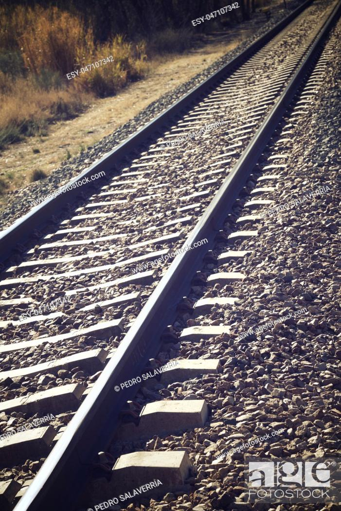 Stock Photo: Close up of a railway line in Zaragoza Province, Spain.
