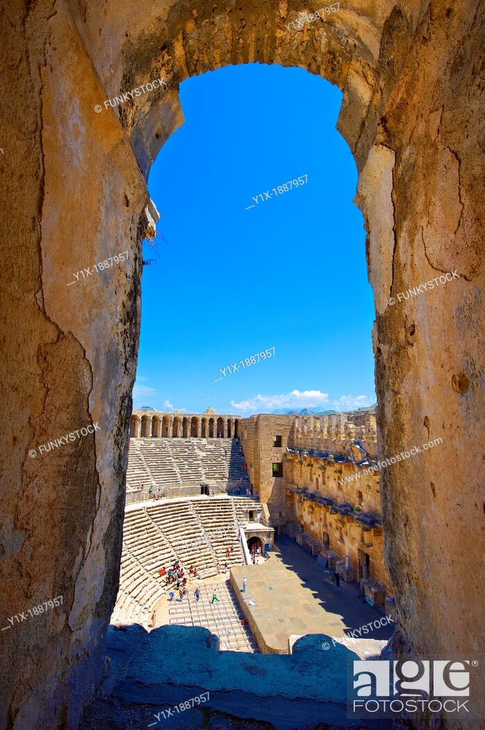 Stock Photo: The Roman Theatre of Aspendos, Turkey  Built in 155 AD during the rule of Marcus Aurelius, Aspendos Theatre is the best preserved ancient theatre in Asia Minor.