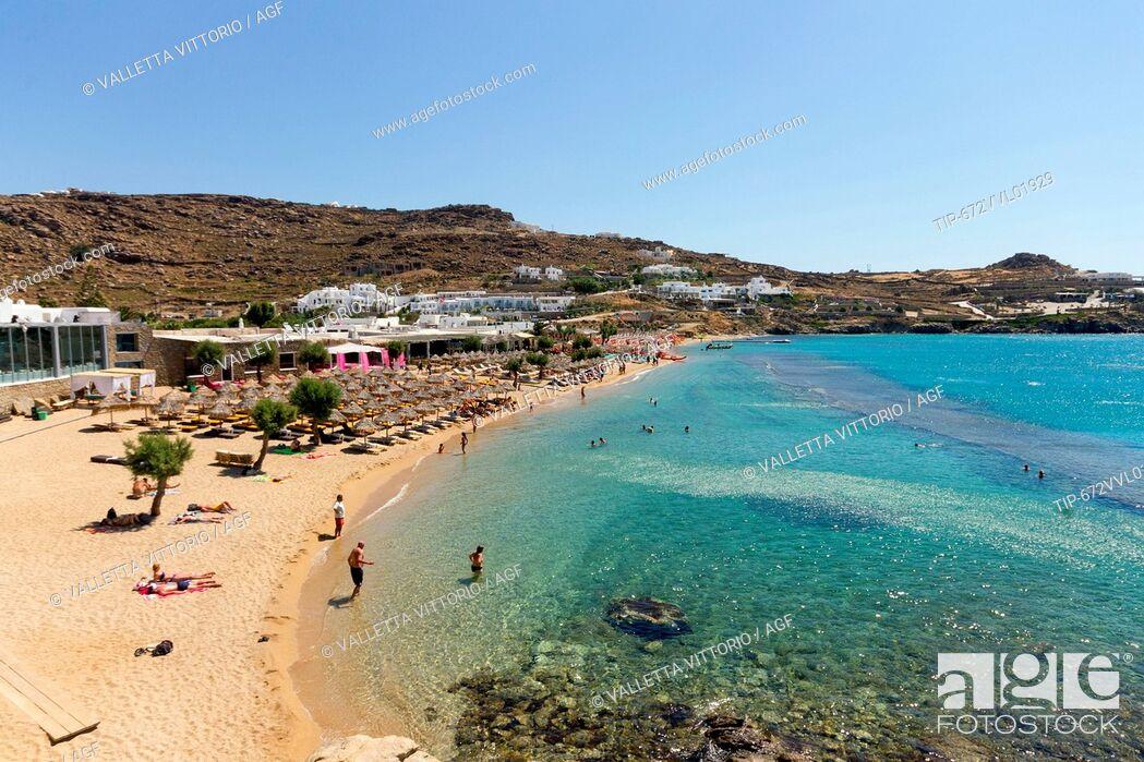 Stock Photo Greece Cyclades Islands Mykonos Island Paradise Beach
