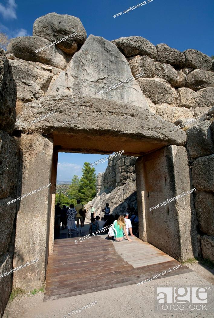 Stock Photo: Lion Gate, Mycenae, Greece. The Lion Gate at Mycenae was built about 1250 BC. Mycenae is an archaeological site in Greece.