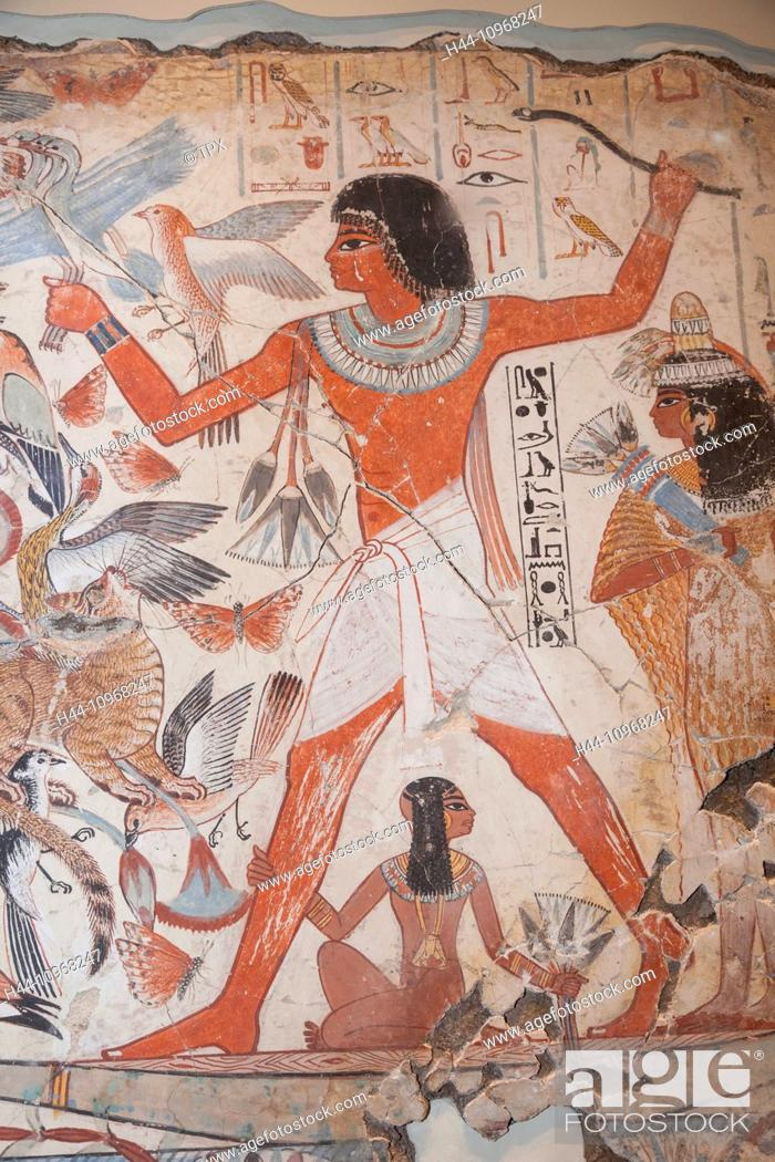 Stock Photo: England, Europe, London, British Museum, The Tomb of Nebamun, Painting of Nebamun Hunting in the Marshes.