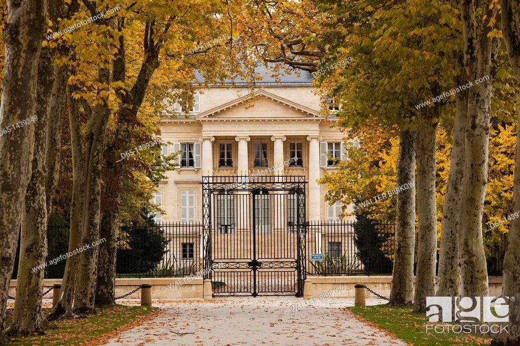 Stock Photo: France, Aquitaine Region, Gironde Department, Haute-Medoc Area, Margaux, Chateaux Margaux estate.