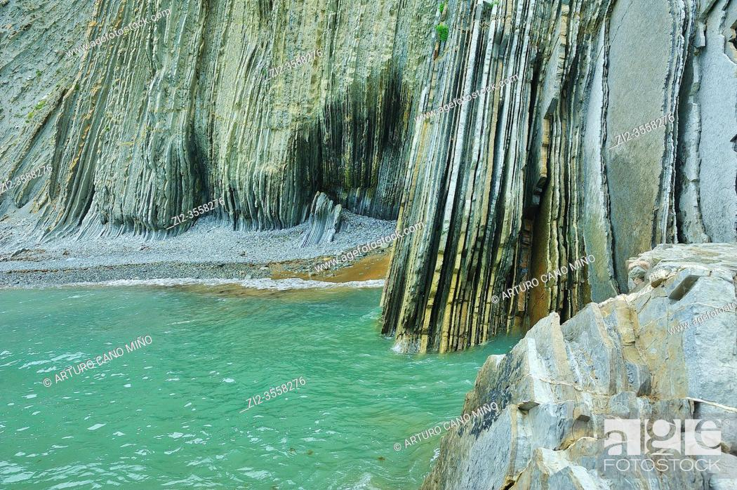 Stock Photo: The Flysch in the Itzurun Beach. Zumaia town, Guipuzcoa province, Spain.