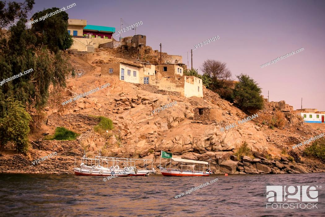 Stock Photo: Nile at Nubia, Aswan , Egypt.