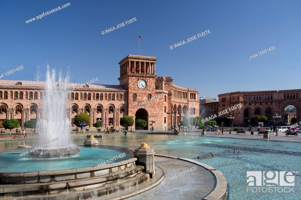 Stock Photo: Armenia, South Caucasus, Caucasus, Eurasia, building, History, Clock, Republic, Yerevan, architecture, city, downtown, famous, fountain, landmark, skyline.