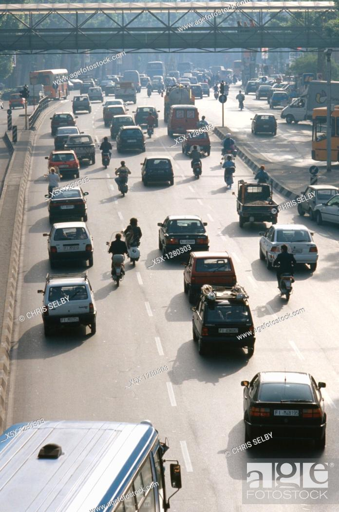 Stock Photo: Traffic on Viale F Strozzi in Florence, Italy.