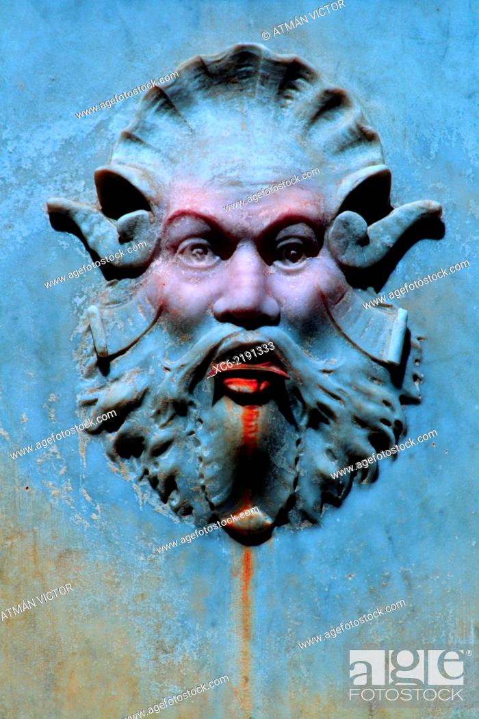 Stock Photo: neptune's sculpted face.