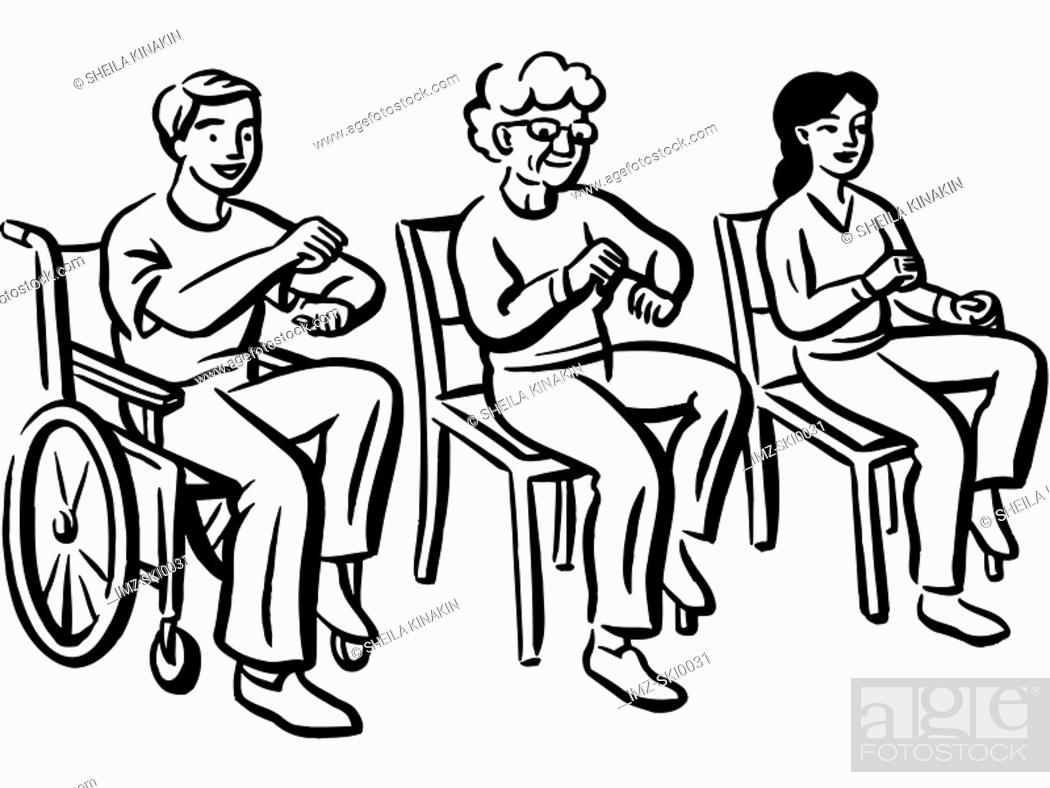 Stock Photo: Patients doing some light exercises.