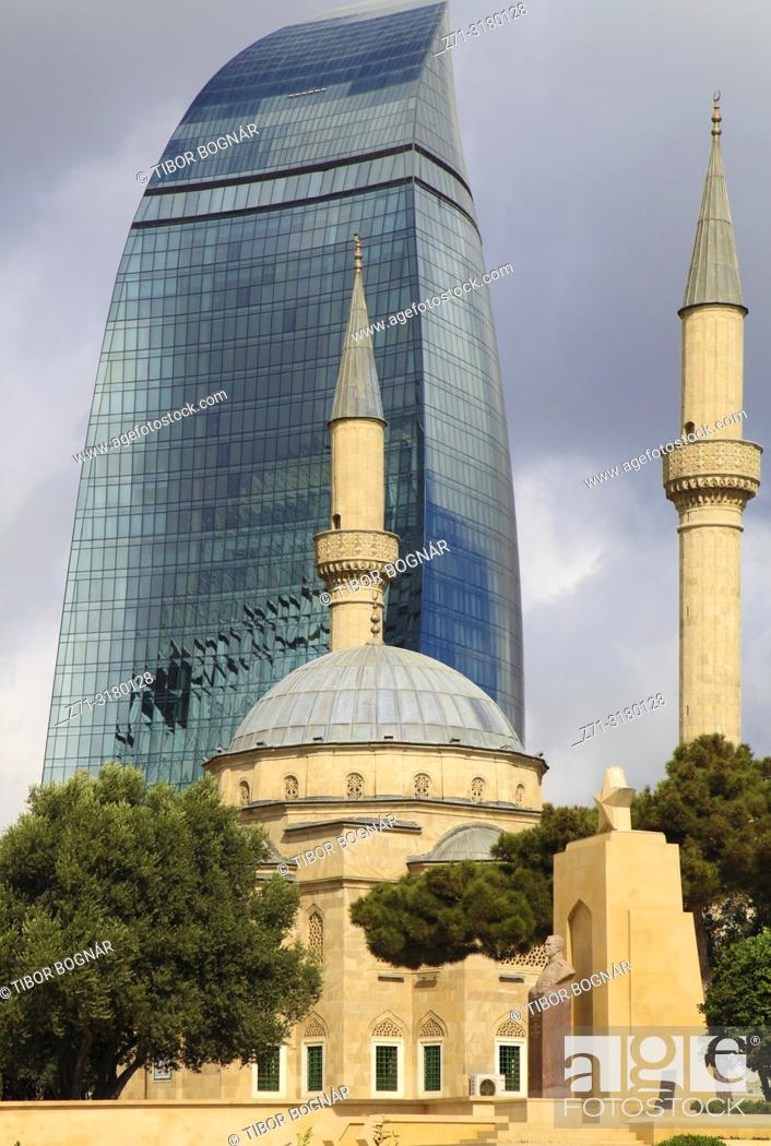 Stock Photo: Azerbaijan; Baku; Martyrs' Mosque; Flame Tower, Sehitlik Mescidi;.