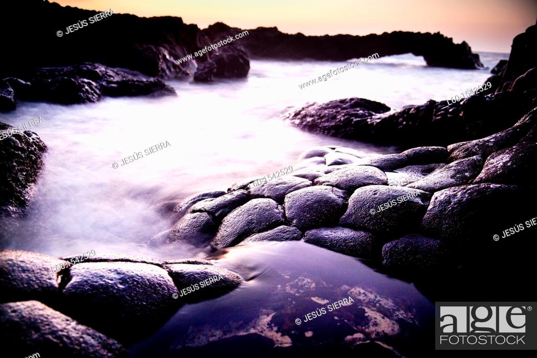 Stock Photo: Basalt rock at sea side, 'Charco Azul', El Hierro, Canary Islands, Spain.