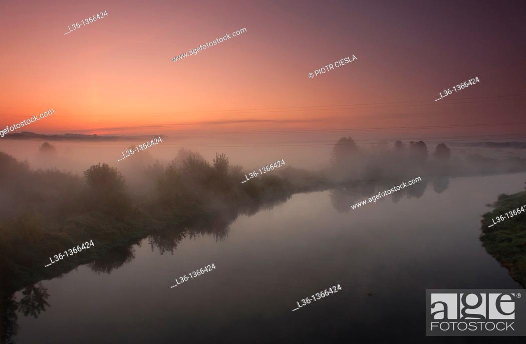 Stock Photo: Misty morning on Narew river near Lomza  Poland.
