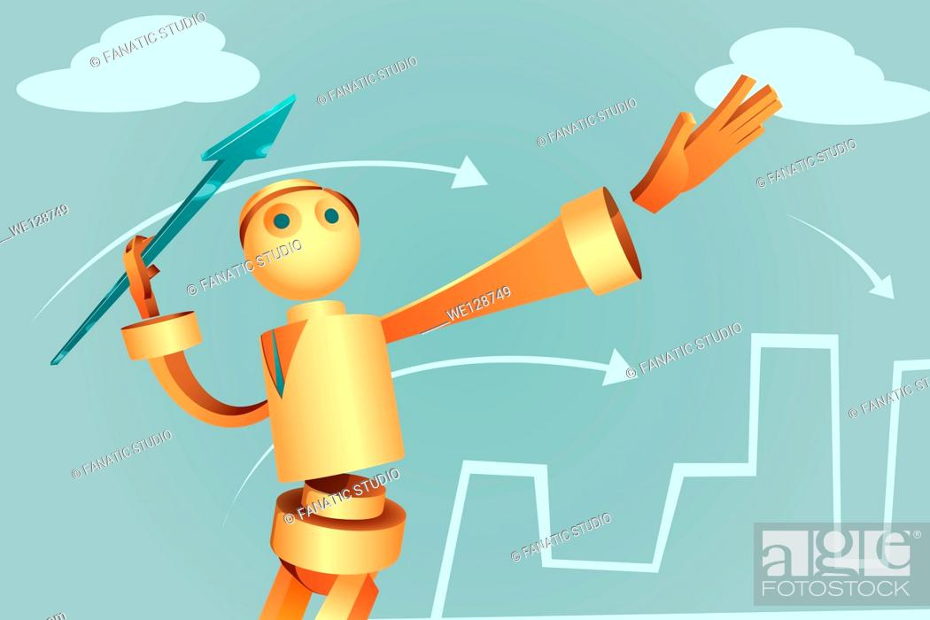 Stock Vector: Illustration of robotic businessman aiming arrow to achieve target.