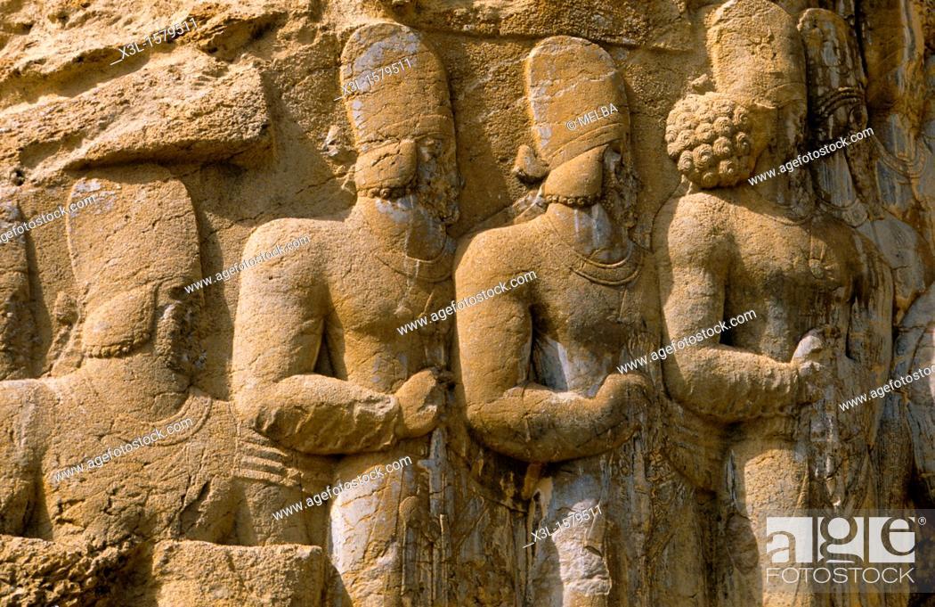 Stock Photo: Relief in historic tomb of King Darius, Dareios II , Achaehenid burial site Naqsh-e Rostam, Rustam near Persepolis  Iran.