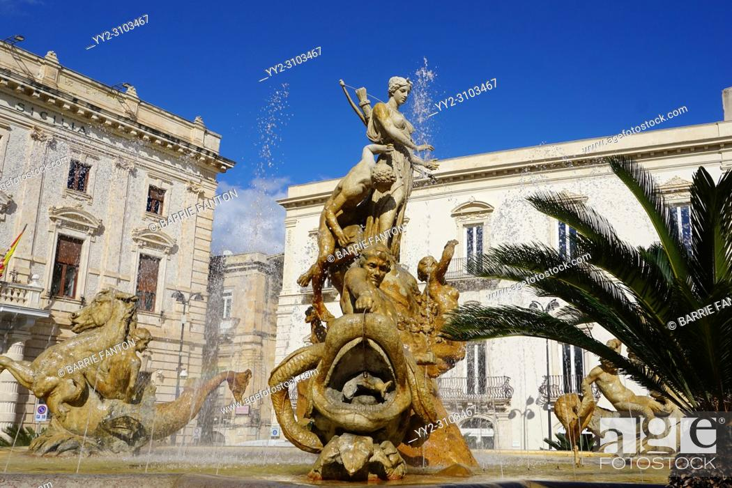 Stock Photo: Diana Fountain, Archimede Square (Piazza Archimede) by Giulio Moschetti, Syracuse, Sicily, Italy.
