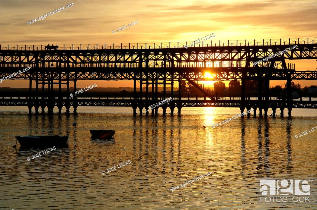 Stock Photo: Mineral pier of Riotinto Company in the Odiel river at dusk, Huelva, Region of Andalusia, Spain, Europe.