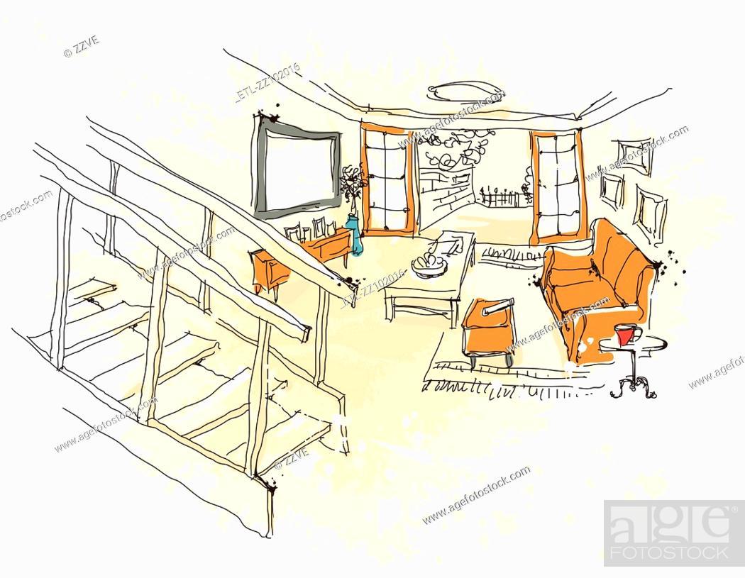Stock Photo: Living room interior.