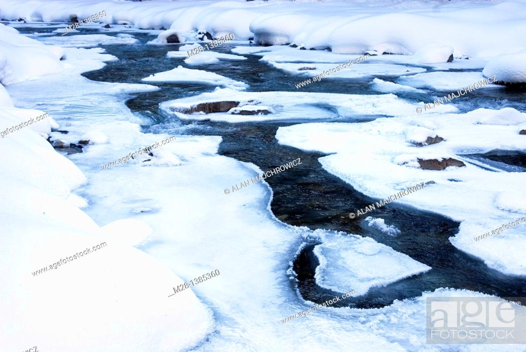 Stock Photo: The Robson River in winter, Mount Robson Provincial Park British Columbia Canada.