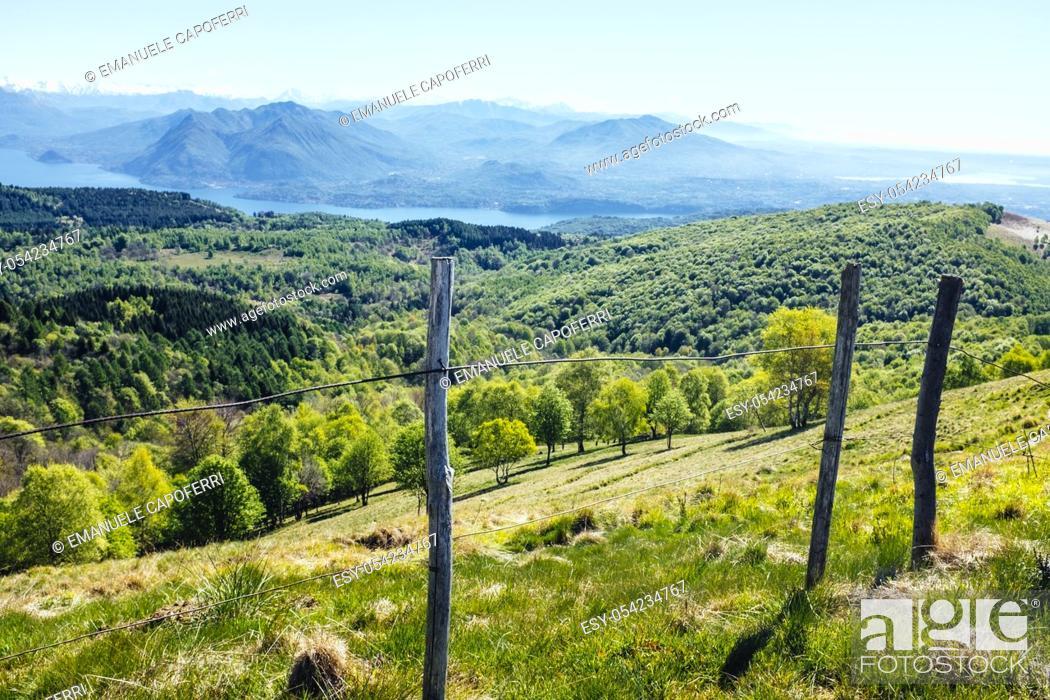 Stock Photo: Panorama of Lake Maggiore from Mottarone, Stresa, Piedmont, Italy.