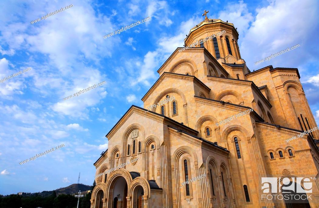 Stock Photo: Tsminda Sameba Cathedral, Tbilisi, Georgia.