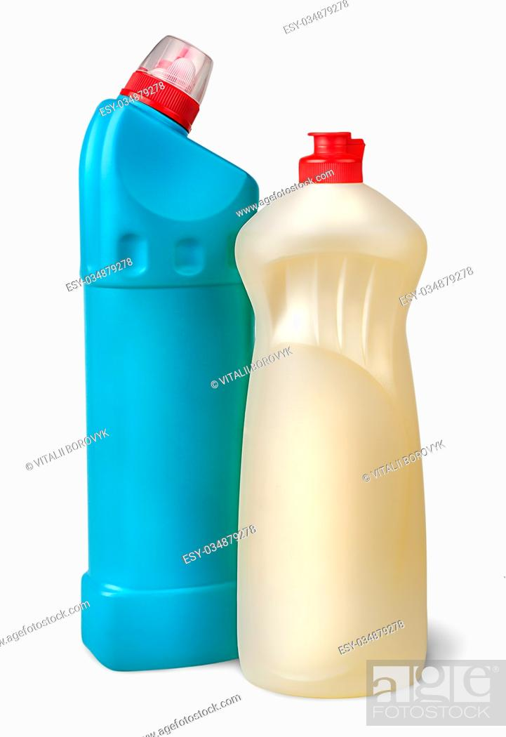 Stock Photo: Two plastic bottles of disinfectant near isolated on white background.
