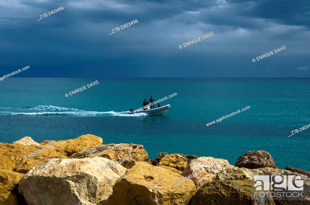 Stock Photo: View of a launch closed to Altea coast, Alicante north, Spain.
