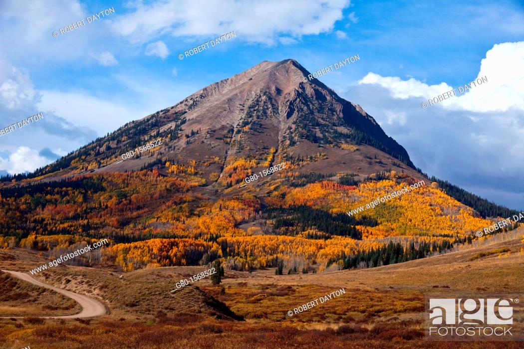 Stock Photo: Gothic Mountain is visible from Washington Gulch Road near Crested Butte, Colorado.