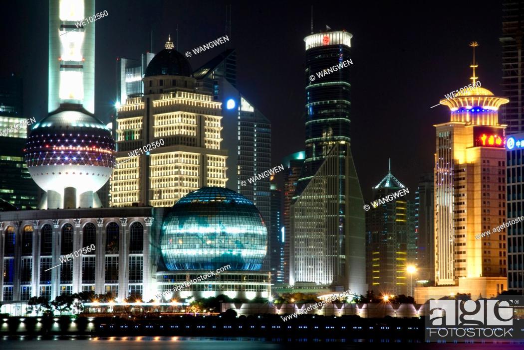 Stock Photo: Night scene, Bund, Shanghai, China.