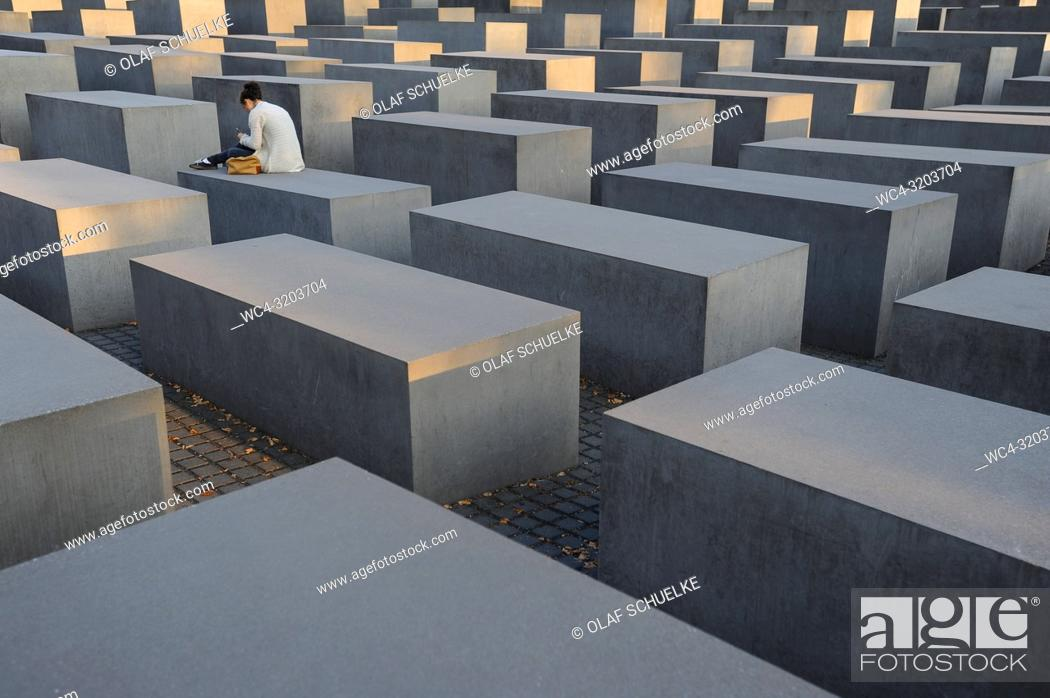 Stock Photo: 08. 09. 2014, Berlin, Germany, Europe - The Memorial to the Murdered Jews of Eâ. ‹urope, also known as the Holocaust Memorial.