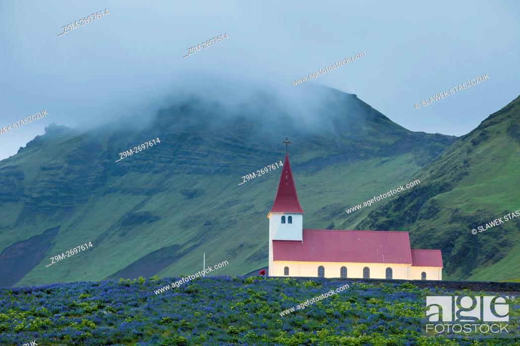 Stock Photo: Evening at traditional Icelandic church in Vik, Iceland.