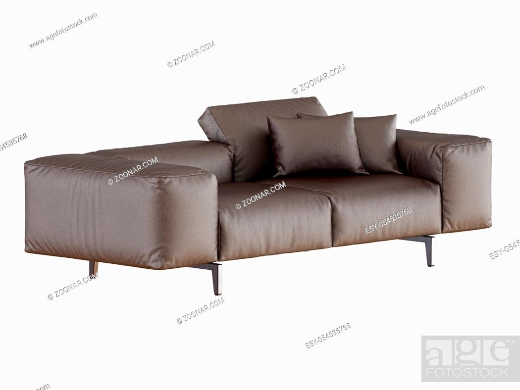 Stock Photo: Brown soft leather sofa side view on a white background 3d rendering.
