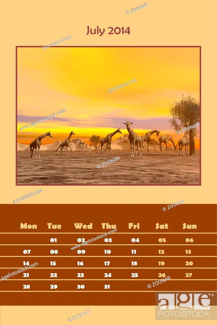 Stock Photo: Safari calendar for 2014 - july.