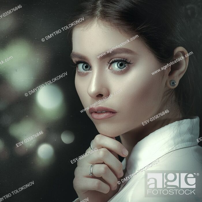 Stock Photo: Film noir, beauty female portrait, grungy style.