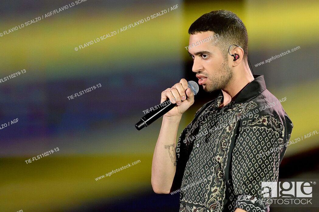 Stock Photo: Singer Mahmood winner of 69th Sanremo Music Festival during the tv show Che tempo che fa, Milan, ITALY-10-02-2019.