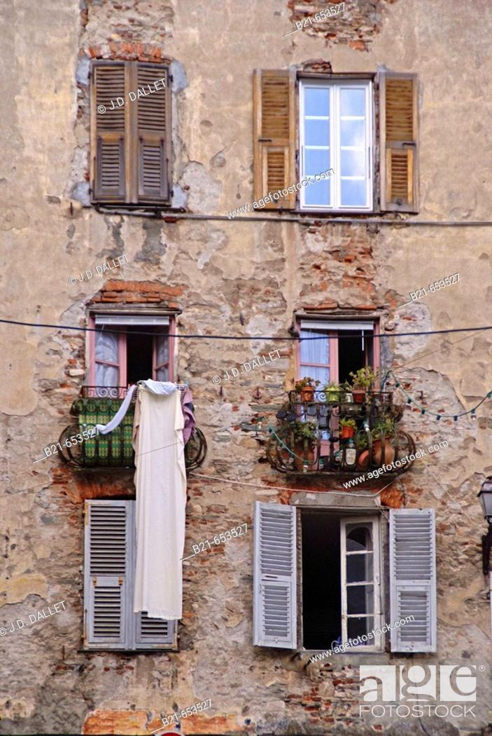 Stock Photo: Quartier Saint Antoine, at Bastia. Corsica. France.