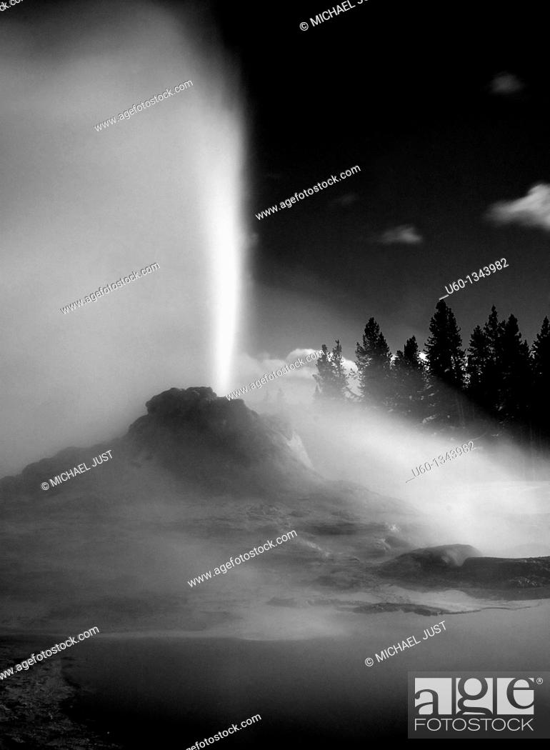 Stock Photo: Castle Geyser erupts during an evening at the Upper Geyser Basin at Yellowstone National Park.